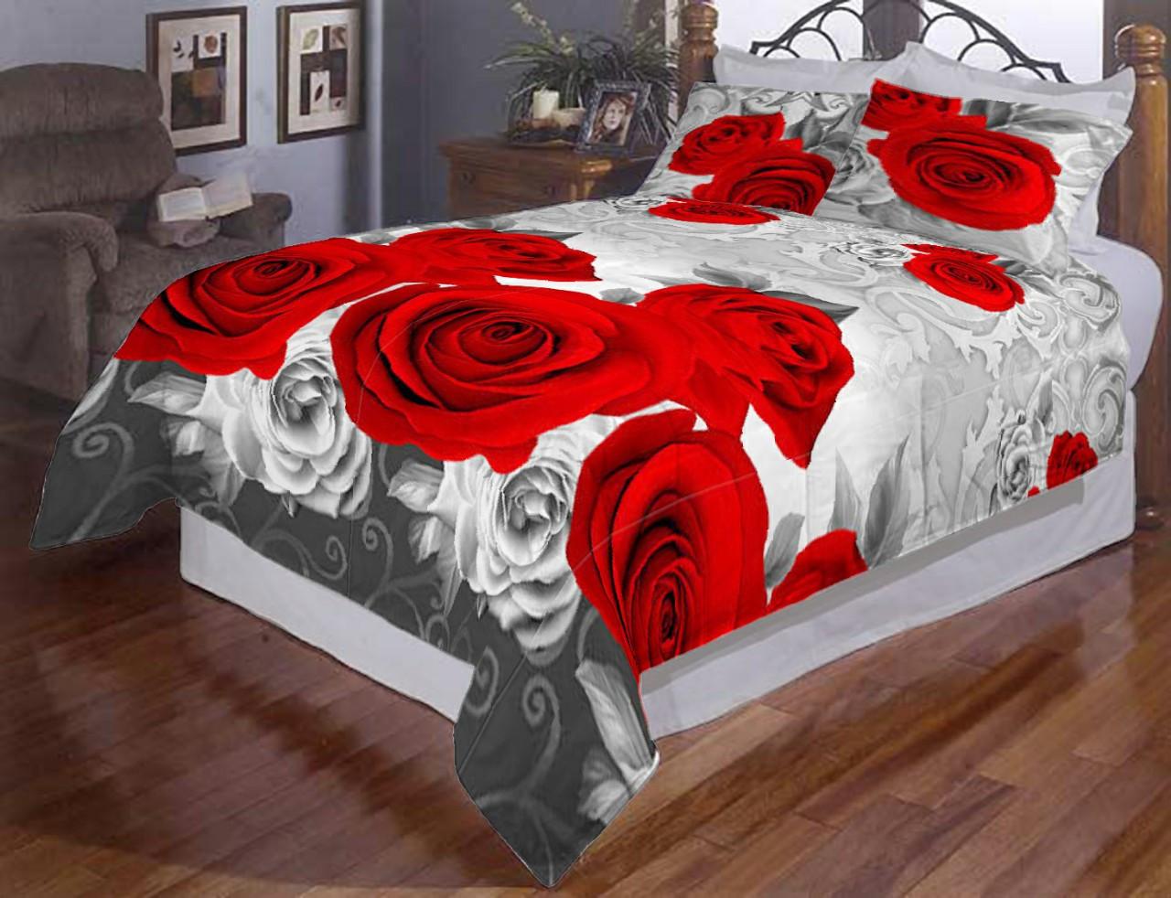 Комплект постельного белья Розы на сером, полуторное