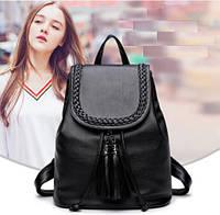 Рюкзак женский плетеный с кисточкой из PU-кожи. 25*15*28см