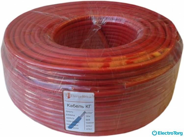 Кабель КГ 1х10 красный ElectroHouse