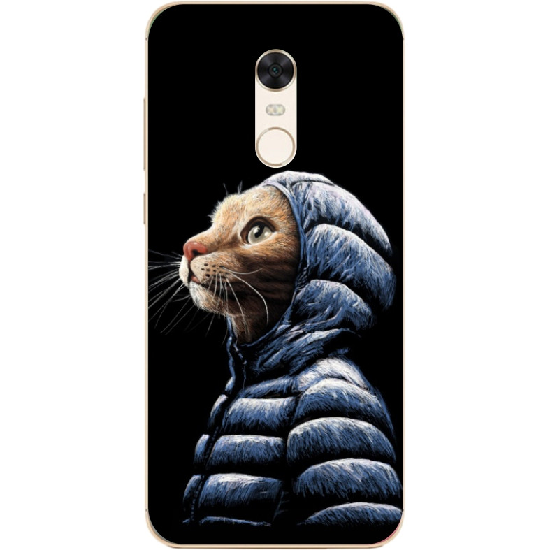 Чехол силиконовый для Xiaomi Redmi 5 Plus с рисунком Кот в куртке