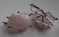 """Красивые серьги с розовым кварцем """"Элегия"""" от студии LadyStyle.Biz"""
