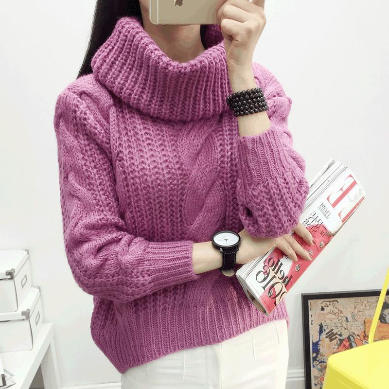 женский вязаный свитер фиолетовый с объемным воротником опт купить