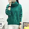 Женский вязаный зеленый свитер с воротником хомутом опт