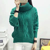 Женский вязаный зеленый свитер с воротником хомутом опт, фото 1