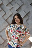 Блуза для беременных и кормящих Цветы HIGH HEELS MOM (белый, one size), фото 1
