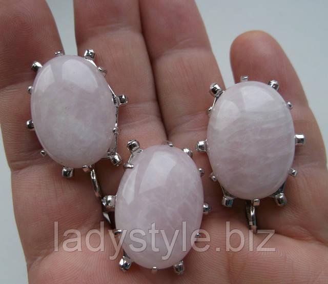купить серьги кольцо розовый кварц украшения леди стиль