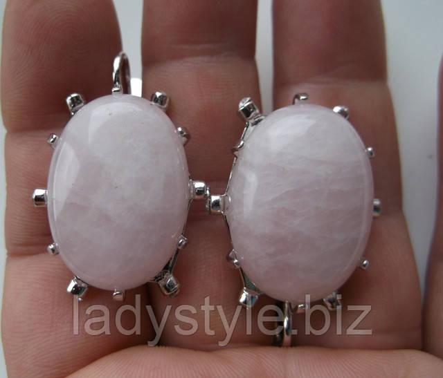 купить украшения серьги кольцо с розовым кварцем подарок девушке