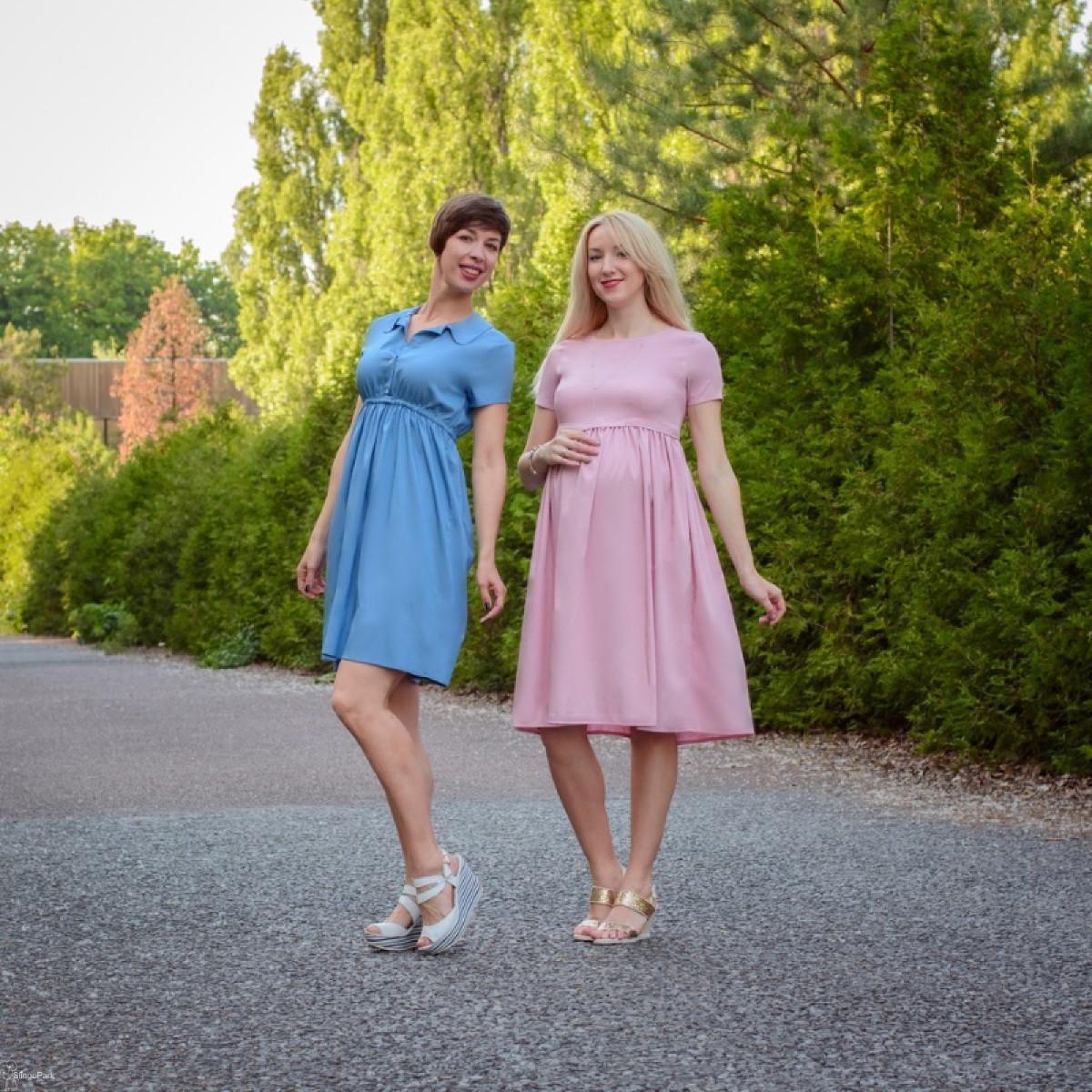 Платье летнее с завышенной талией для беременных и кормящих мам HIGH HEELS MOM (синий, размер S/M)