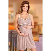 Ночная рубашка для беременных и кормящих LUPO LINE 1684 (какао, размер 36)