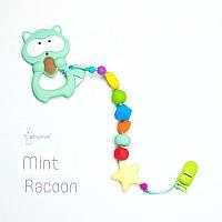 Грызунок из пищевого силикона BABY MILK TEETH Mint Racoon