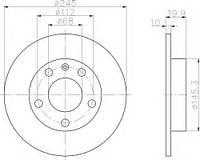 Диск тормозной (задний) Audi 80/A4 93-09 (245x9.9) PRO TEXTAR 92106203