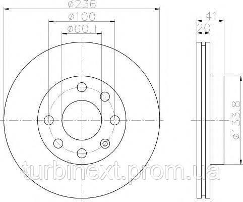 Диск тормозной (передний) Opel Astra F/Kadett E 91- (236x20) PRO TEXTAR 92029603