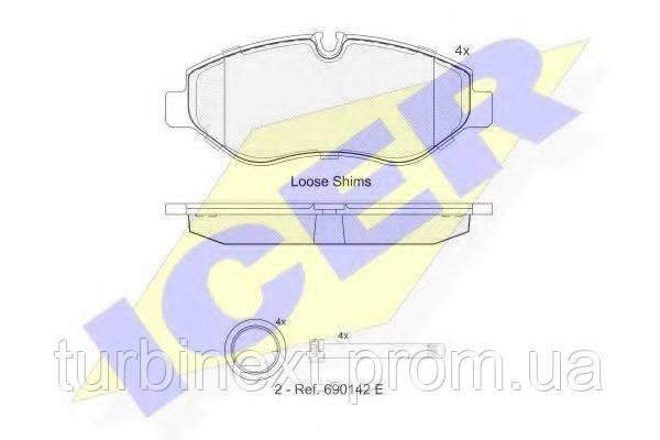 Колодки гальмівні (передні) MB Sprinter 906) /Vito (W639) (Brembo PF 2.4) ICER 141786