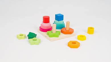 Деревянная пирамидка - Геометрика. Собирается из 16 деталей.