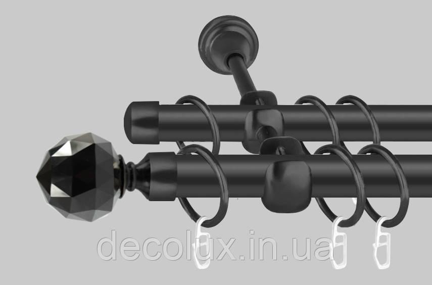 Черный матовый Карниз для штор металлический, двухрядный 19 мм (комплект) Кристалл Черный