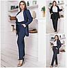 Женский джинсовый костюм пиджак с брюками Батал до 60 р 17357