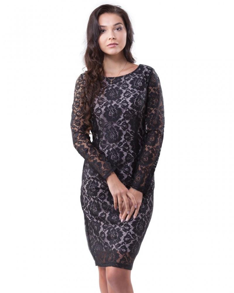 Черное женское кружевное платье (размеры S-3XL)