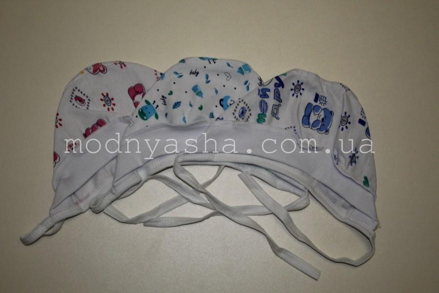 Шапочка для новонароджених байка з манжетом на зав'язках