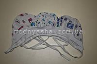 Шапочка для новонароджених байка з манжетом на зав'язках, фото 1