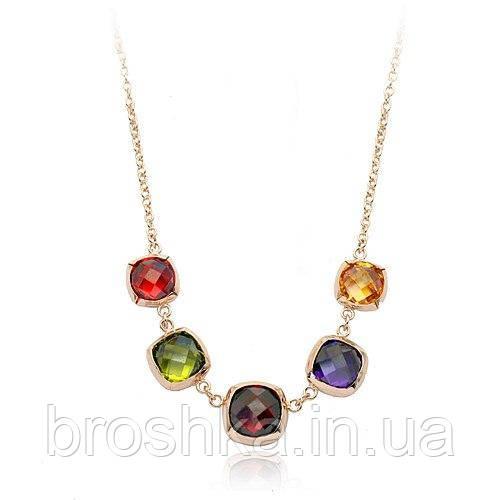 Ожерелье из крупных разноцветных камней Swarovski
