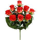Букет крупных атласных бутонов роз, 58см (10 шт в уп), фото 2