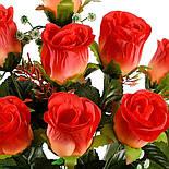 Букет крупных атласных бутонов роз, 58см (10 шт в уп), фото 3