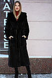 Нрковая шуба блэкглама с капюшоном, фото 4