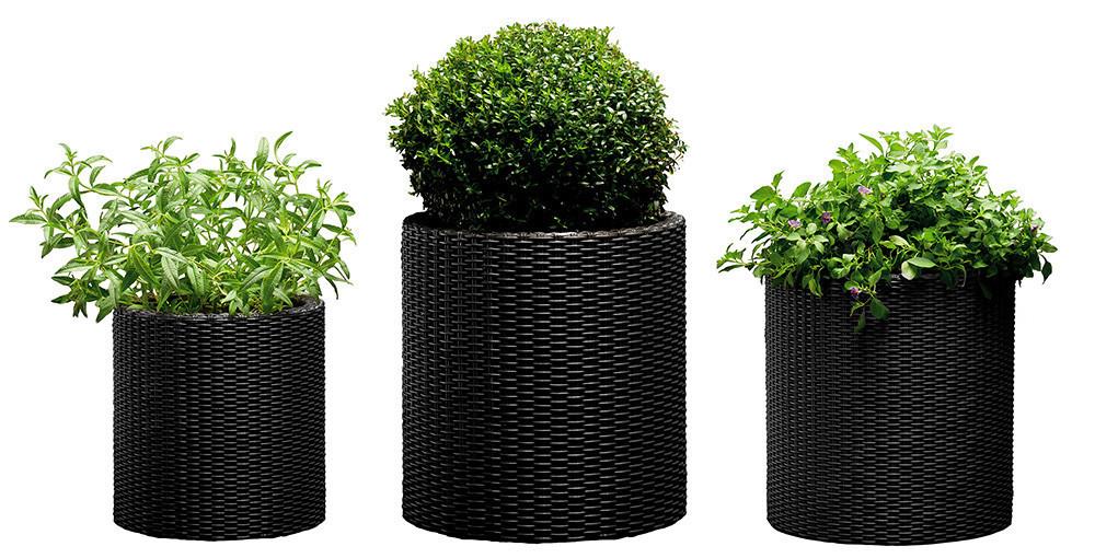 Набор горшков для цветов Keter Cylinder Planter Set, серый