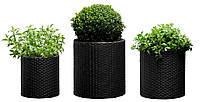 Набор горшков для цветов Keter Cylinder Planter Set, серый, фото 1