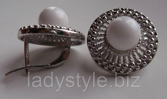 серебряные серьги купить украшения кахолонг ювелирный набор подарок оригинальный