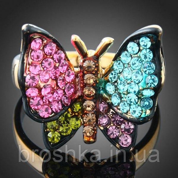 Кольцо бабочка ювелирная бижутерия с разноцветными камнями 16й размер