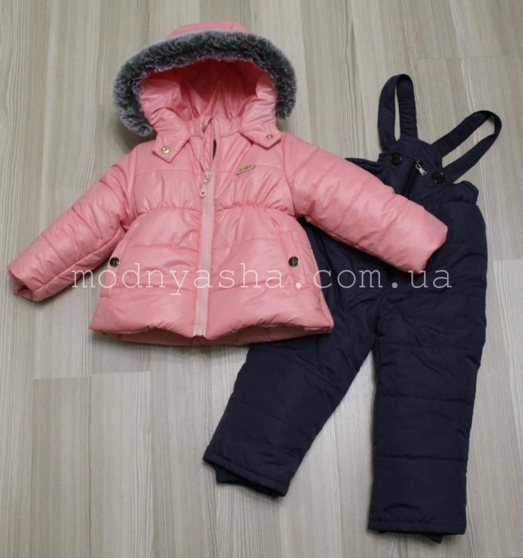 Комбінезон для дівчинки зимовий роздільний (курточка+штани високі теплі) 80-98 розміри 20153/32036
