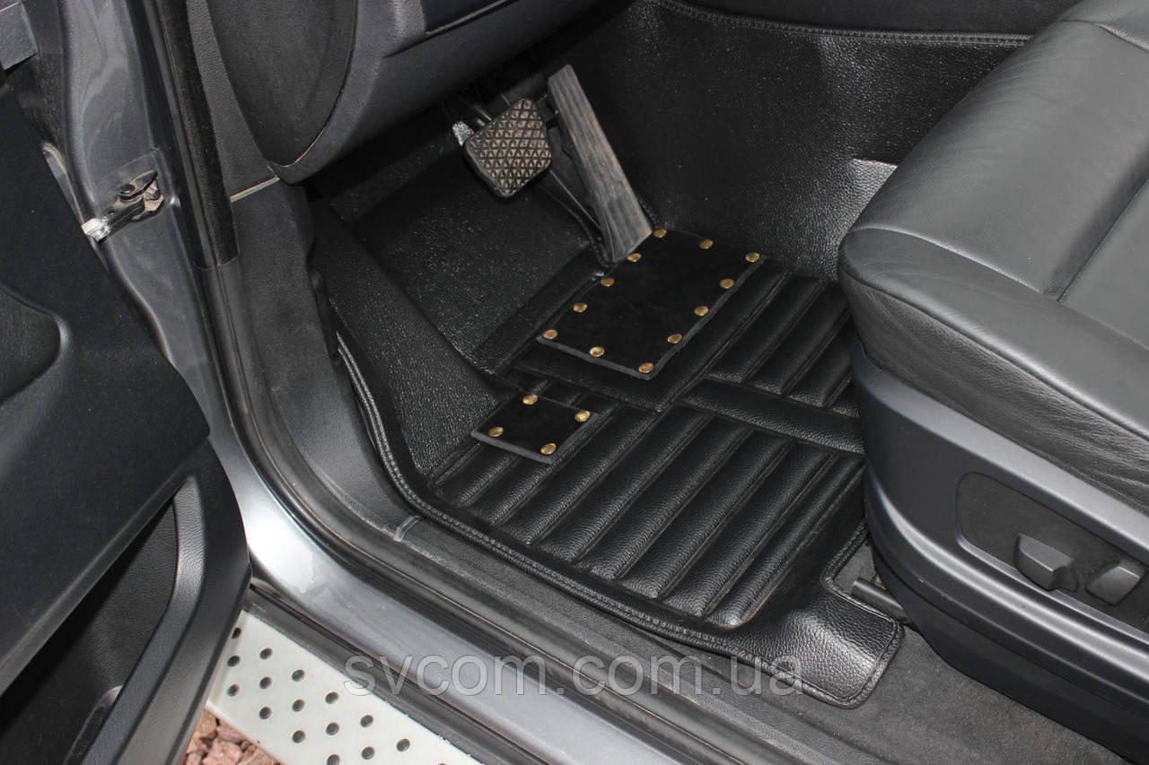 Коврики PorscheCayenne 3D Кожаные  (2010-2017) Прессованные