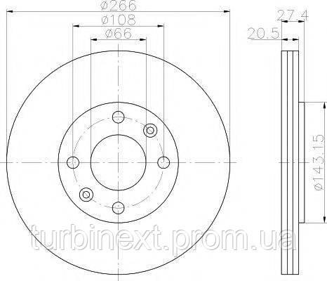 Диск гальмівний Citroen Berlingo/Peugeot Partner 96- (266x20.4) PRO TEXTAR 92048103