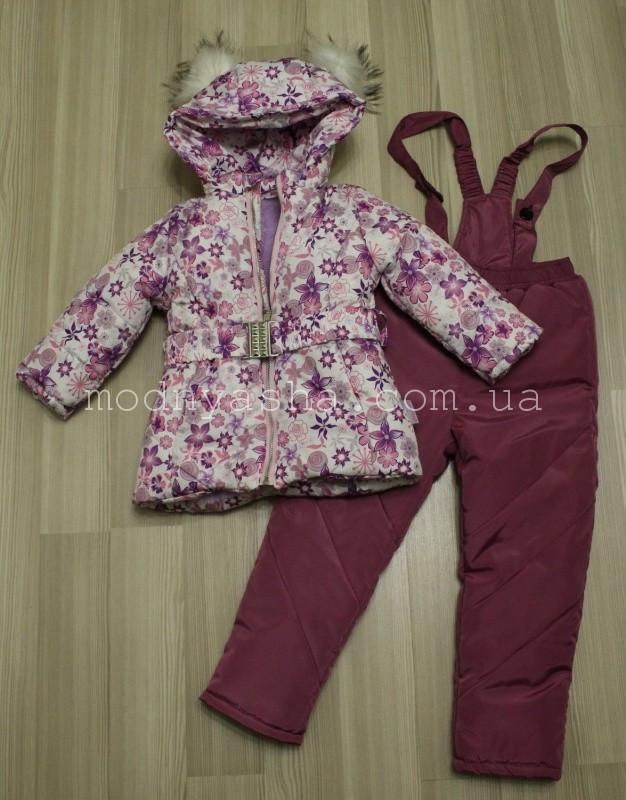 Комбінезон для дівчинки зимовий роздільний (курточка+штани високі теплі) 92-104 розміри 20264/01262