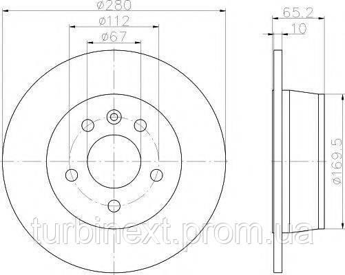 Диск тормозной (задний) MB Vito (W638) 96- (280x10) PRO TEXTAR 92074503