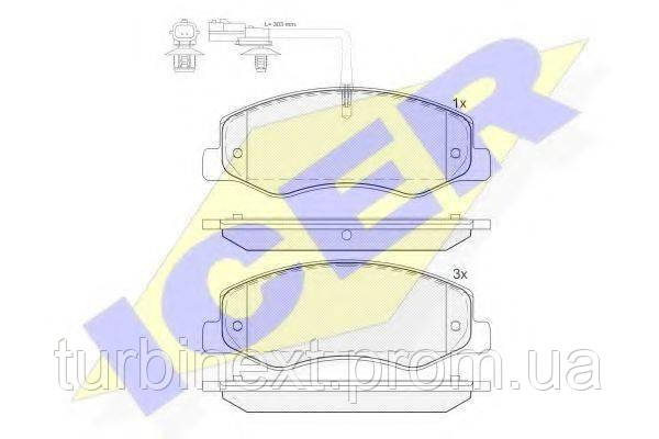 Колодки тормозные (задние) Opel Movano, Renault Master III 10- (спарка)/(с датчиком) (Brembo) ICER 142000