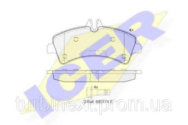 Колодки гальмівні (задні) MB Sprinter 509-519 CDI/VW Crafter 50 06- (спарка) (Bosch) ICER 141849