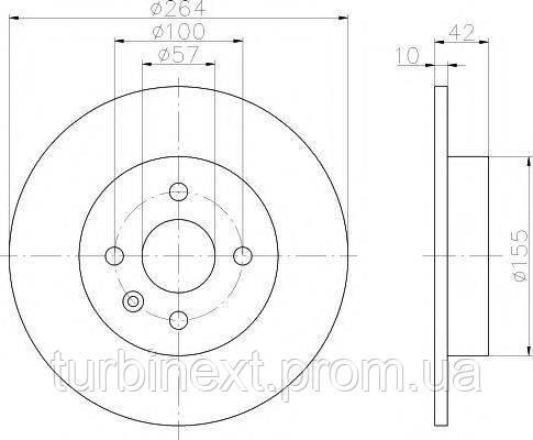 Диск тормозной (задний) Opel Combo 1.3CDTI-1.7DTI 16V 01- (264x10) PRO TEXTAR 92124703