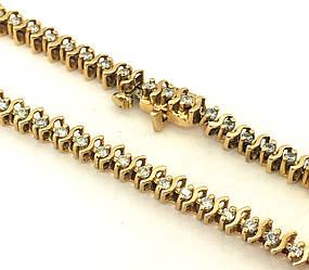 Золотой браслет с бриллиантами, 18 размер