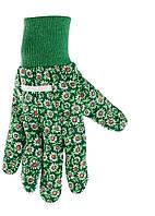 Перчатки садовые х / б ткань с ПВХ точкой, манжет, S // PALISAD 677618