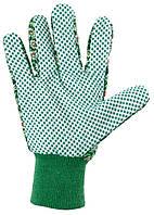 Перчатки садовые х / б ткань с ПВХ точкой, манжет, M // PALISAD 677628