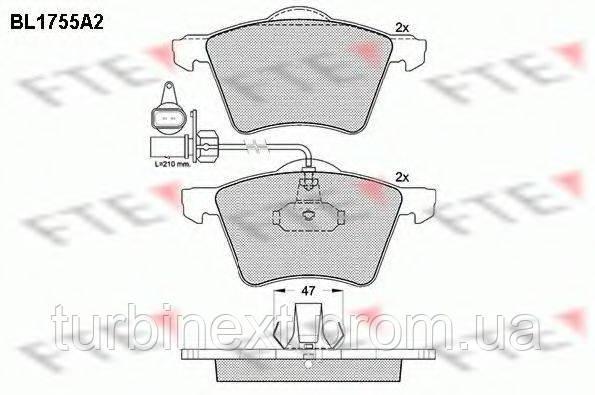 Колодки гальмівні FTE BL1755A2 (передні) VW T4 90-03 R16 (з датчиками)