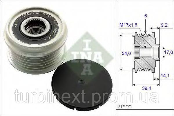 Шків генератора INA 535 0151 10 Fiat Doblo 1.3 D Multijet 10-/Opel Combo 1.3 CDTi