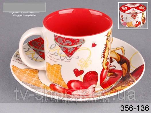 Чашка с блюдцем в шкатулке Амурчик