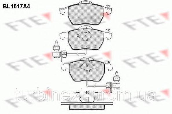 Колодки гальмівні FTE BL1617A4 (передні) Audi A4/A6/VW Passat 95-