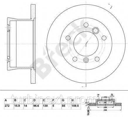 Диск гальмівний BRECK BR 359 VA100 MB Sprinter 308-316CDI 96- (272x15.9)