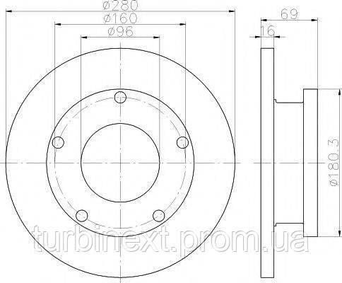 Диск гальмівний TEXTAR 92159100 (задній) Ford Transit V347 06- (280x16) (+ABS)
