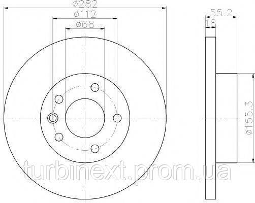 Диск тормозной TEXTAR 92083703 (передний) VW T4 95- (282x18) PRO