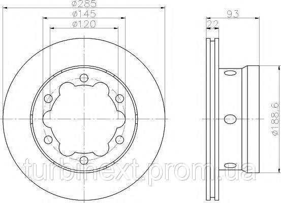 Диск гальмівний TEXTAR 92089803 (задній) MB Sprinter 408-416/VW LT 46 96- (285x22) PRO